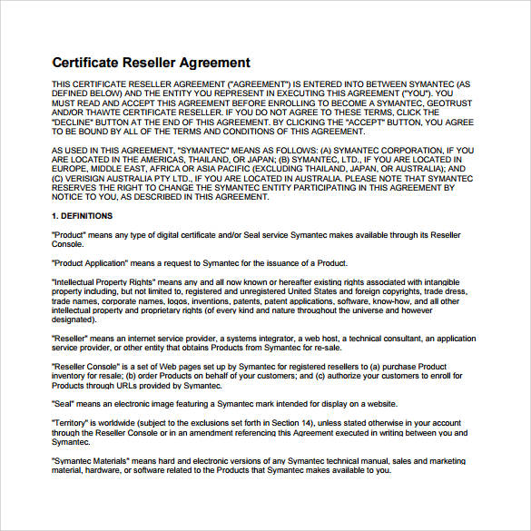 certificate reseller agreement