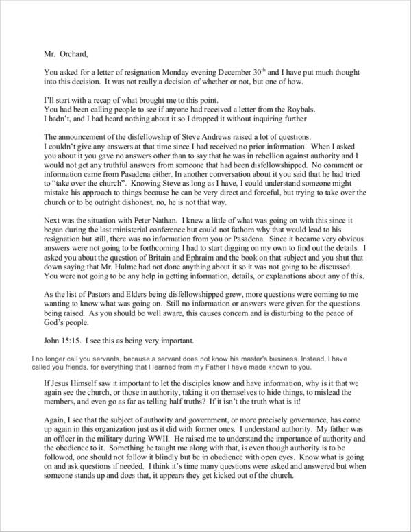church fellowship resignation letter