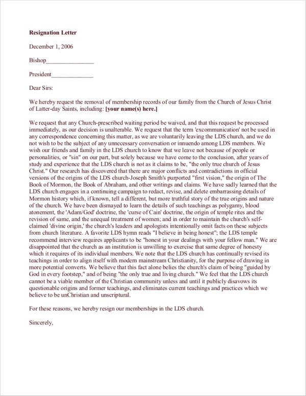 church membership record resignation letter