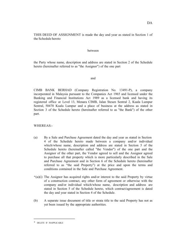 company deed of assignment 01