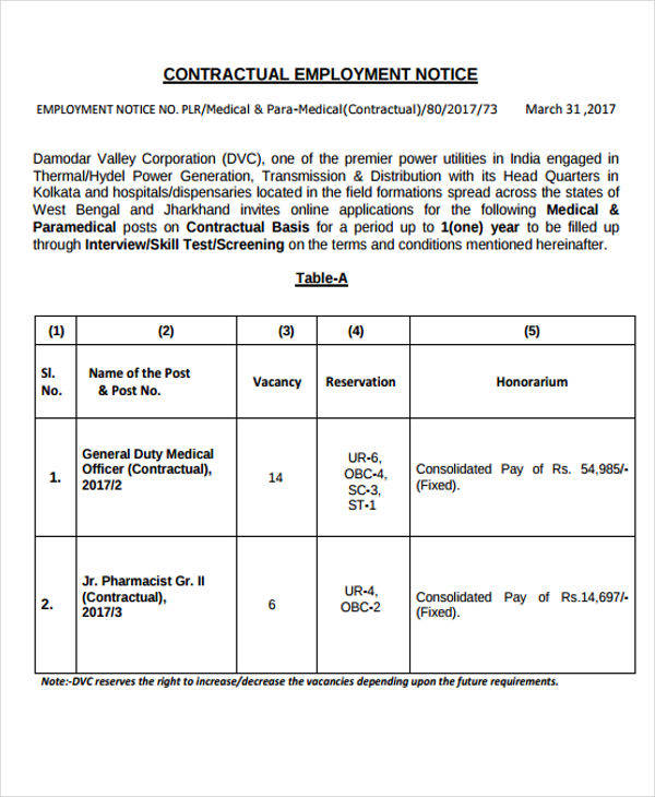 contractual employment notice