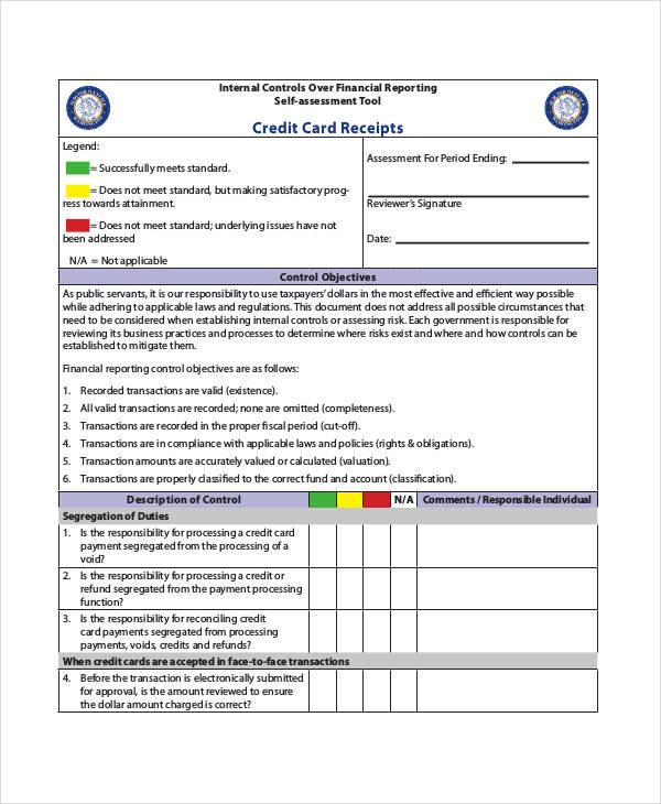 credit card financial receipt template