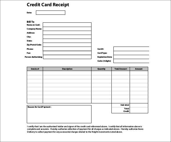 free 8  credit card receipt templates in pdf