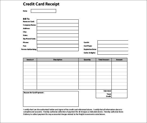 credit card receipt template