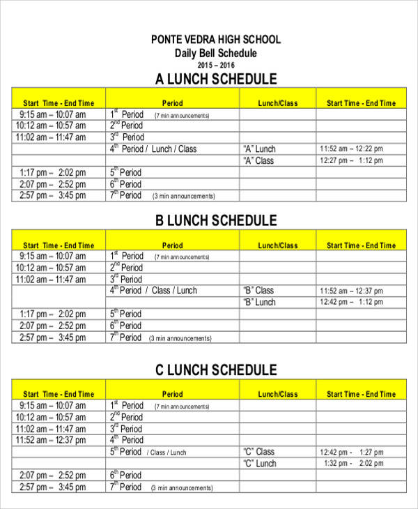daily lunch schedule