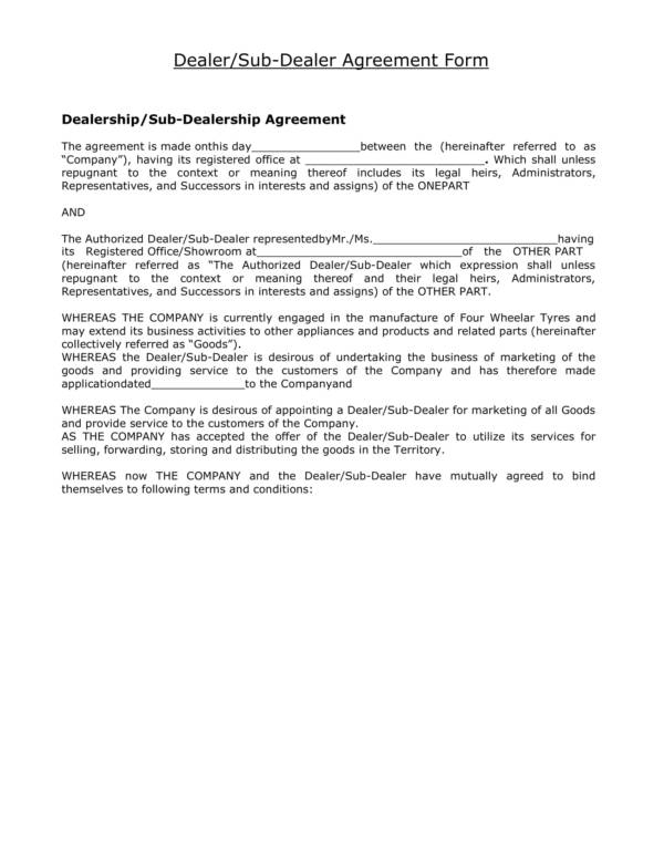 Dealer Sub Agreement Form
