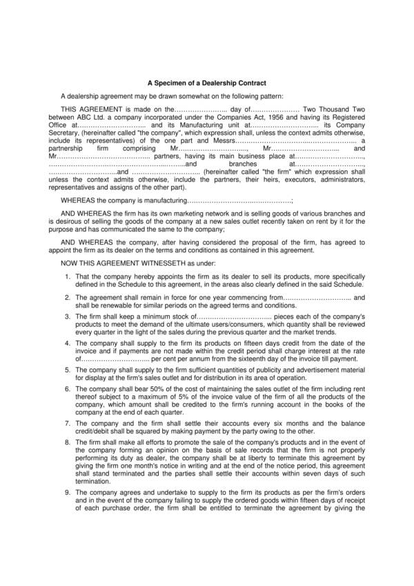 20 Dealership Agreement Templates Pdf Word