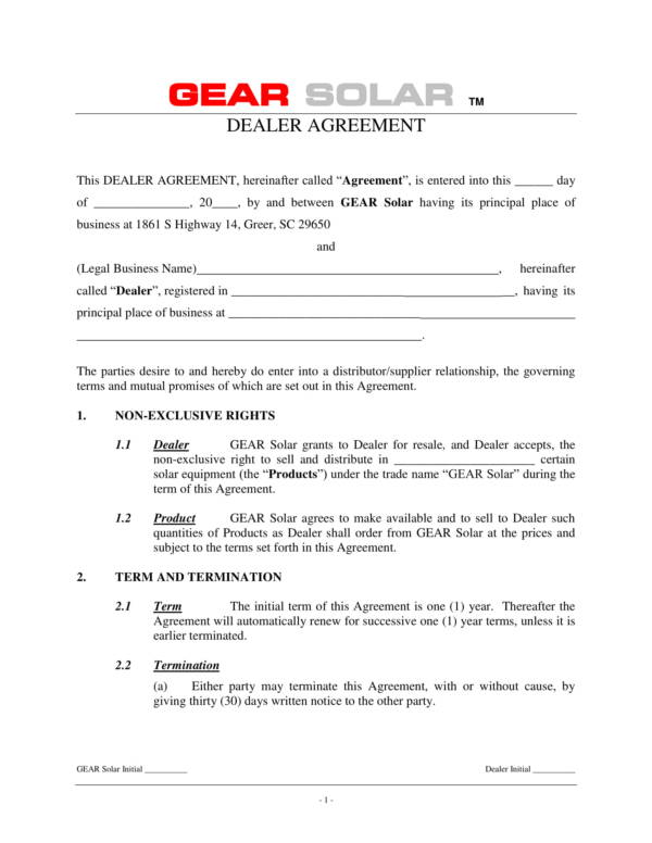 dealership agreement template of a legal business