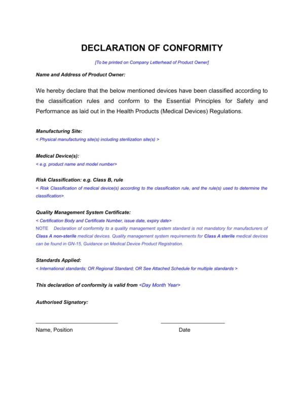 decalaration statement template for conformity