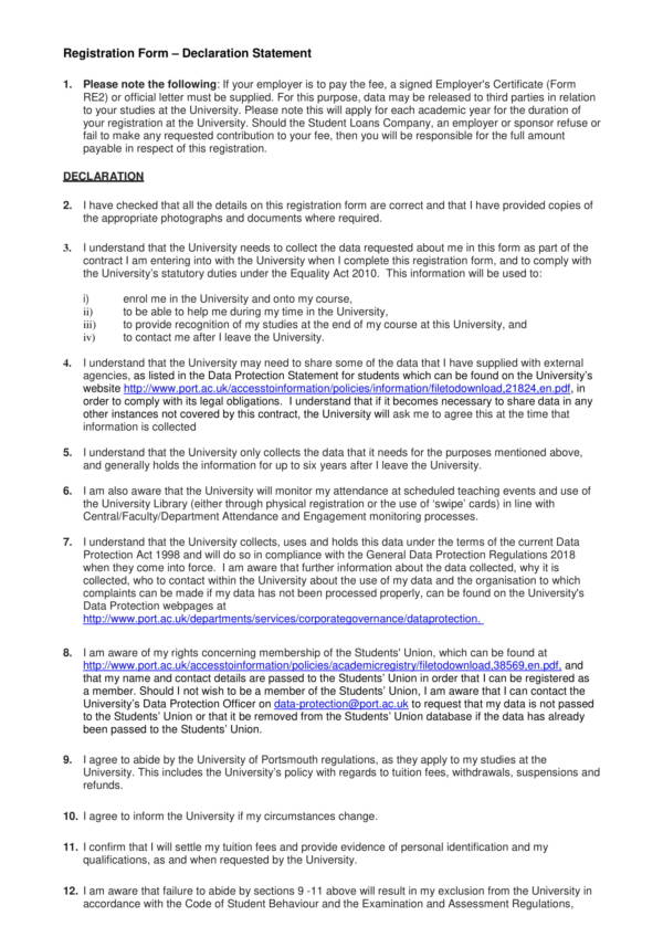 declaration statement for registration