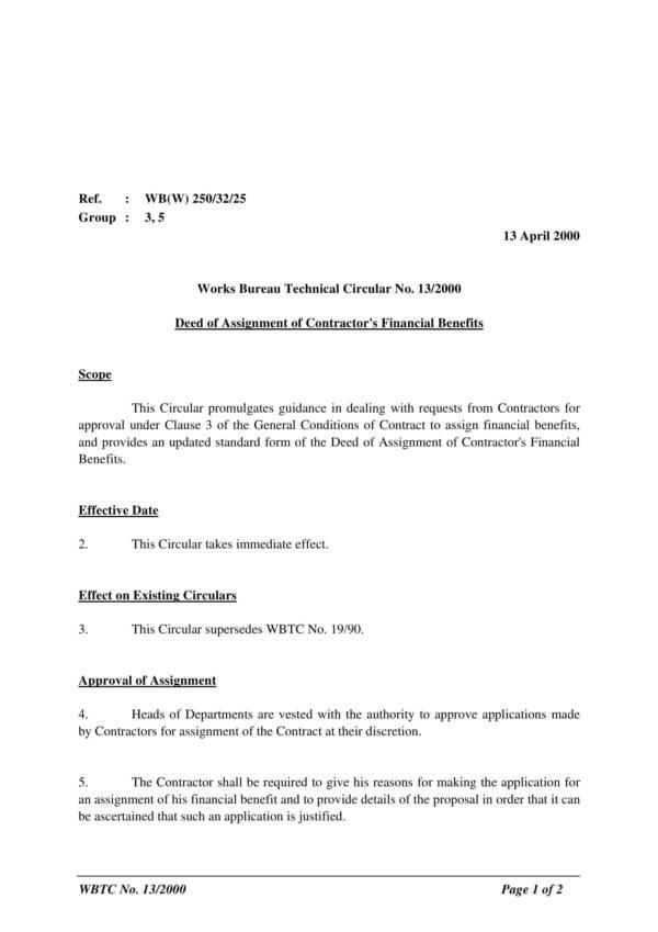 deed of assignment of contractors financial benefits 1