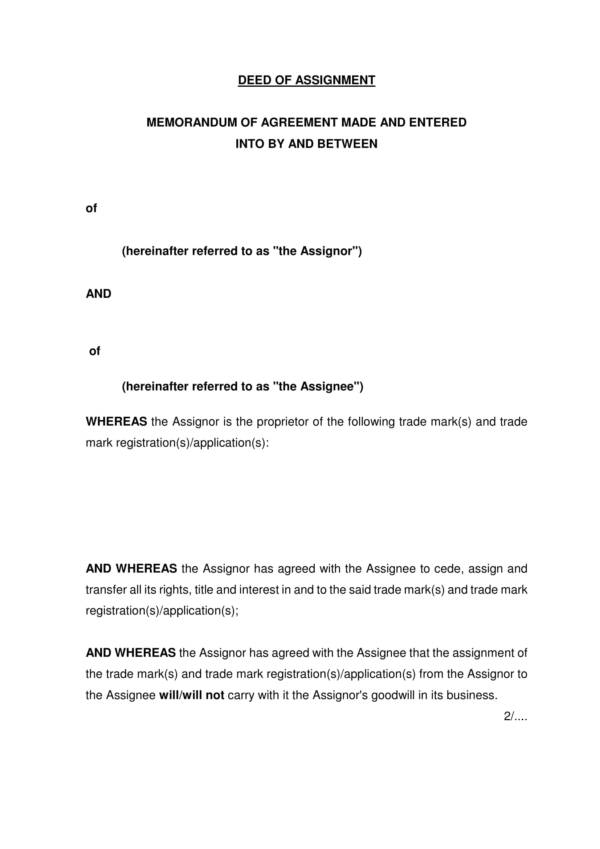 deed of assignment of trademark 1