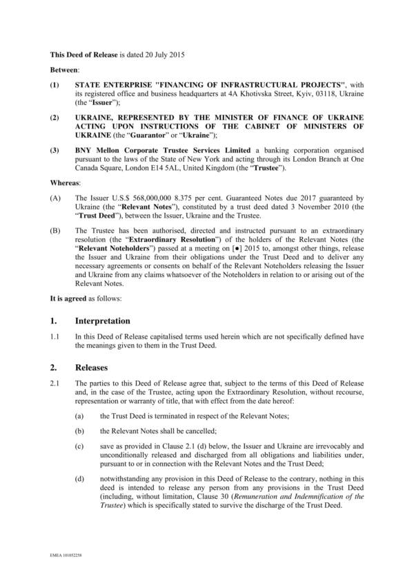 deed of release draft form 3