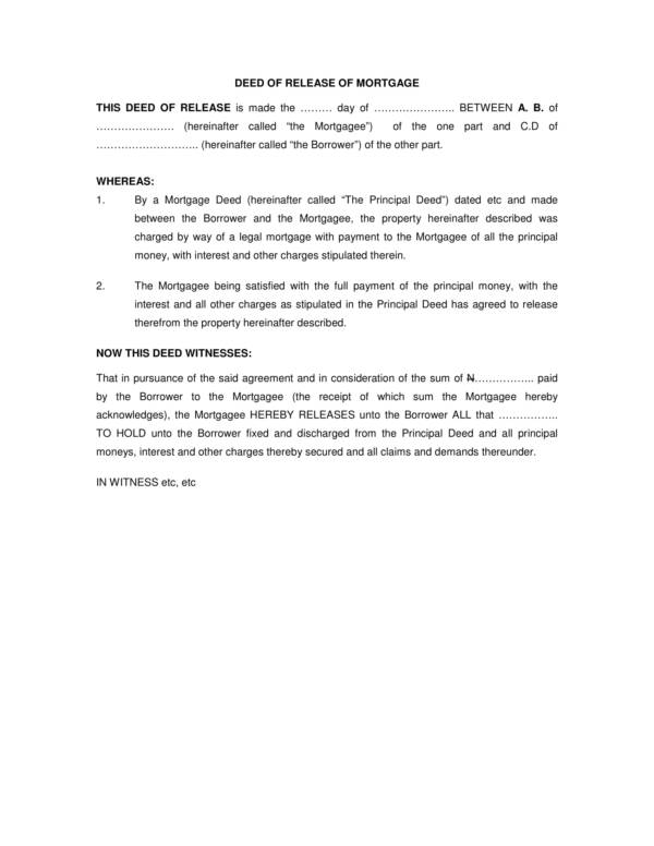 deed of release of mortgage 1