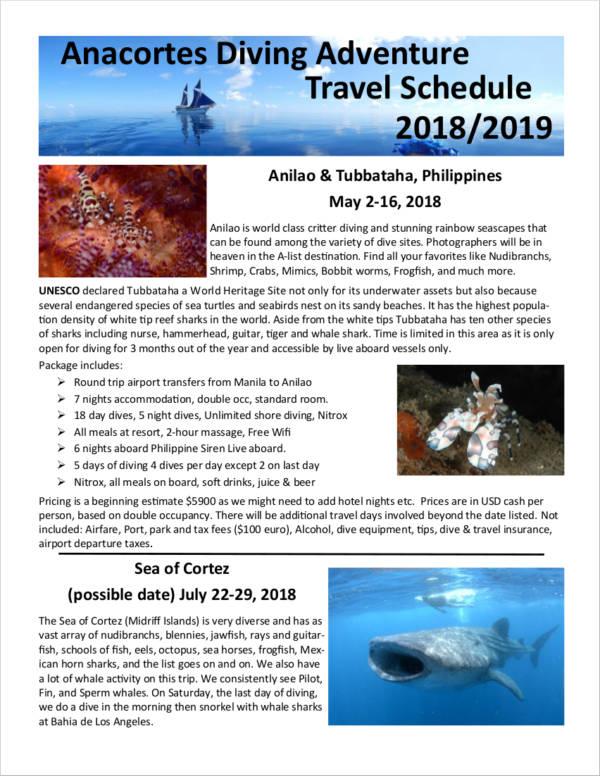 diving adventure travel schedule
