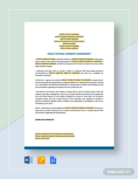 drug testing consent agreement template1