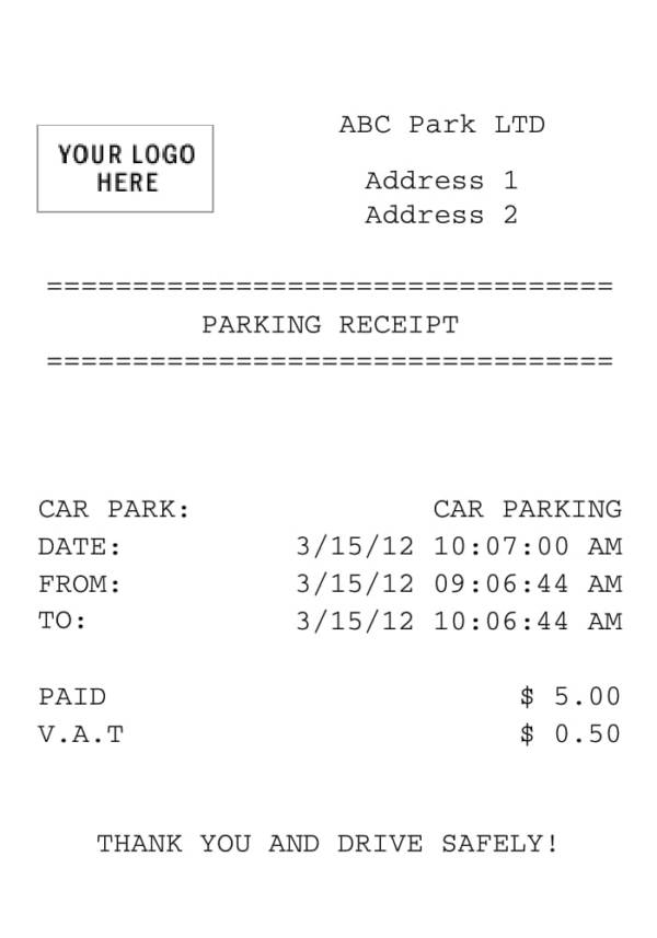 6 parking receipt samples pdf word editable blank parking receipt template saigontimesfo
