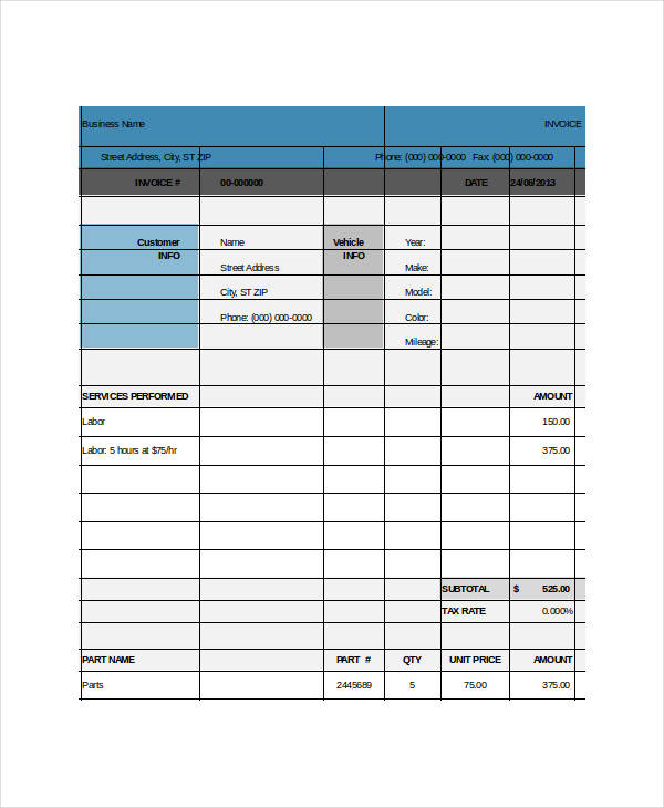 editable repair invoice template