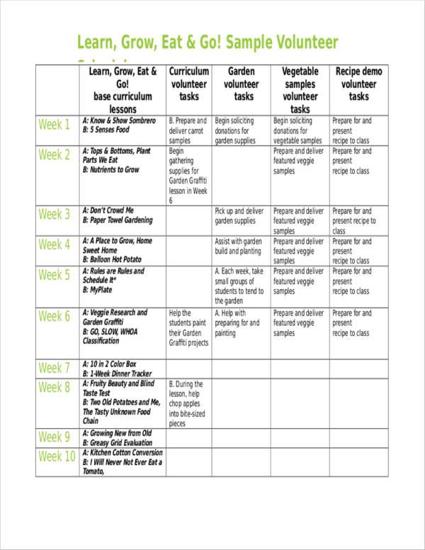 editable sample volunteer schedule