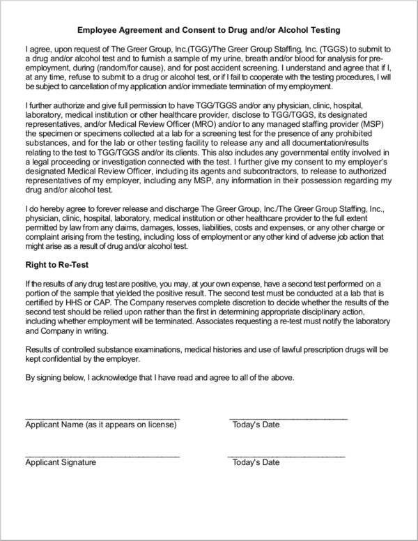 employee agreement and consent to drug testing