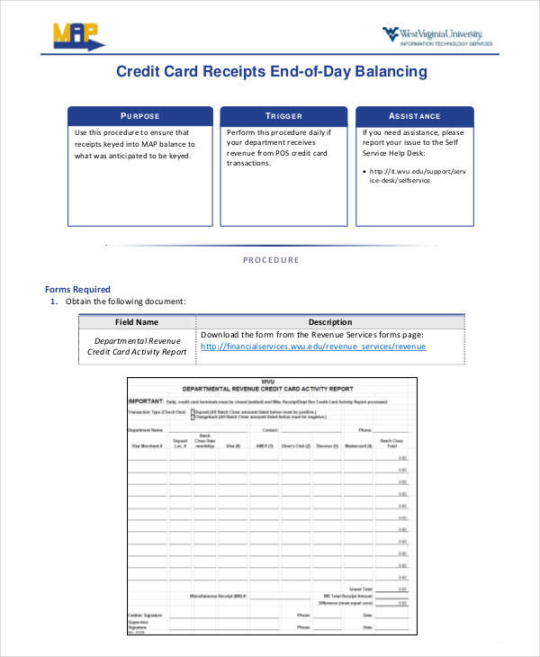 end of day credit card receipt form