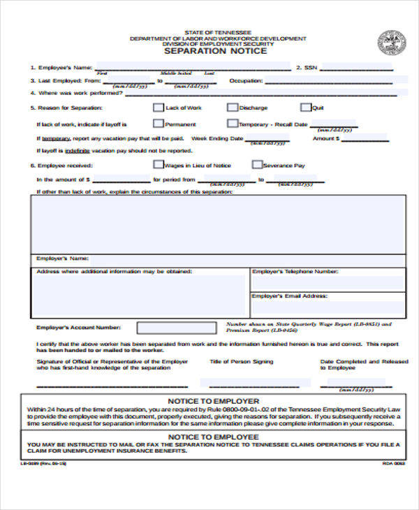 end of employment notice template
