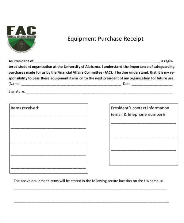 equipment purchase receipt