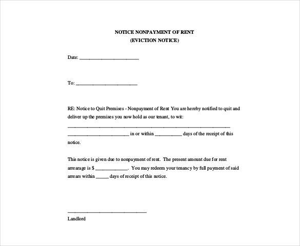 eviction notice nonpayment of rent