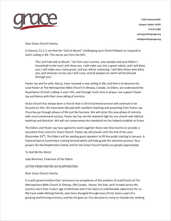 example church resignation letter