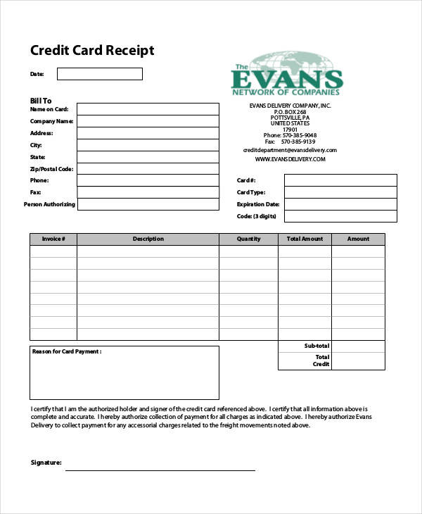 7  credit card receipt templates
