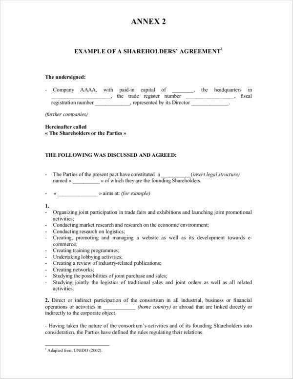 example of shareholders agreement
