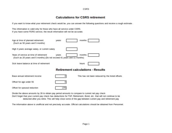 federal retirement calculator