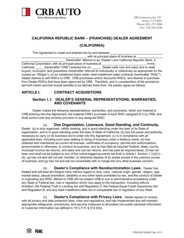 financial dealer agreement template