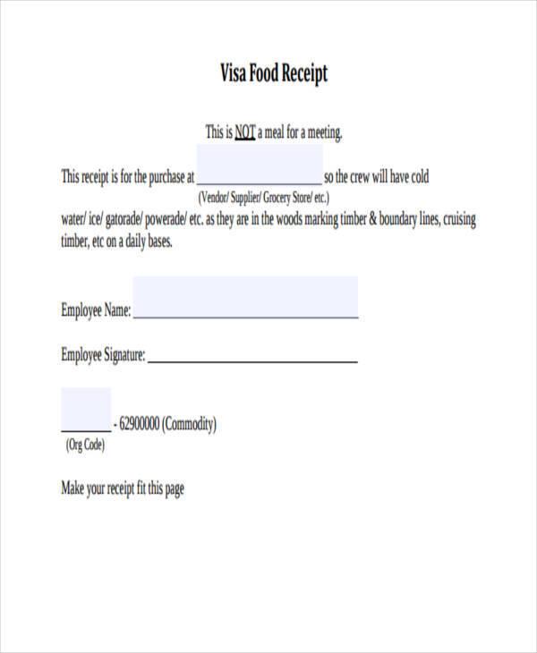 food bill receipt template