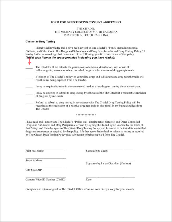 15 Drug Testing Consent Agreement Samples And Templates Pdf Word