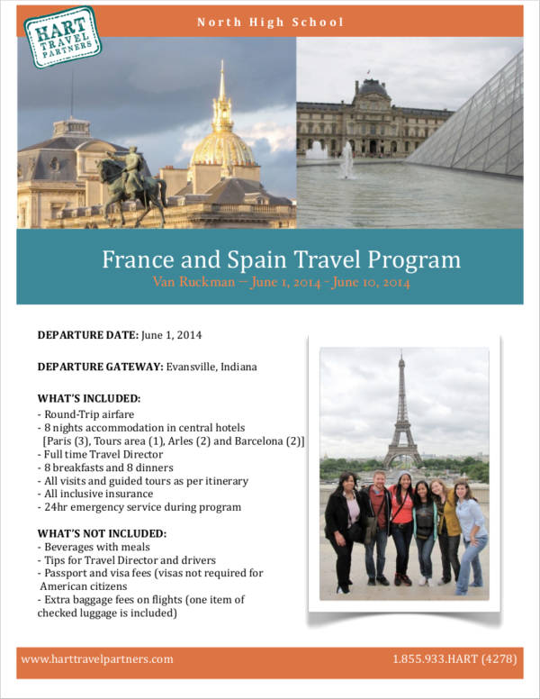 france and spain travel program agenda
