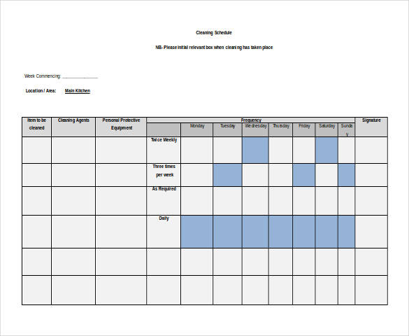 free cleaning schedule template