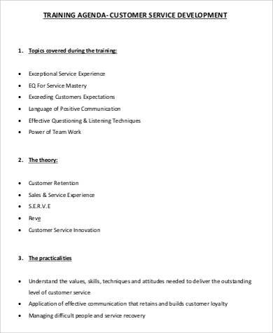free customer service training agenda