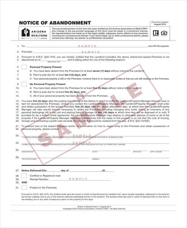 free notice of abandonment template