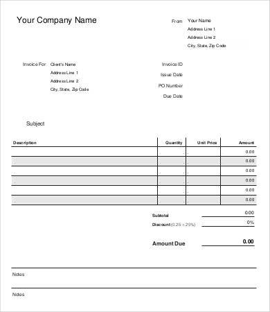 free retail business invoice template