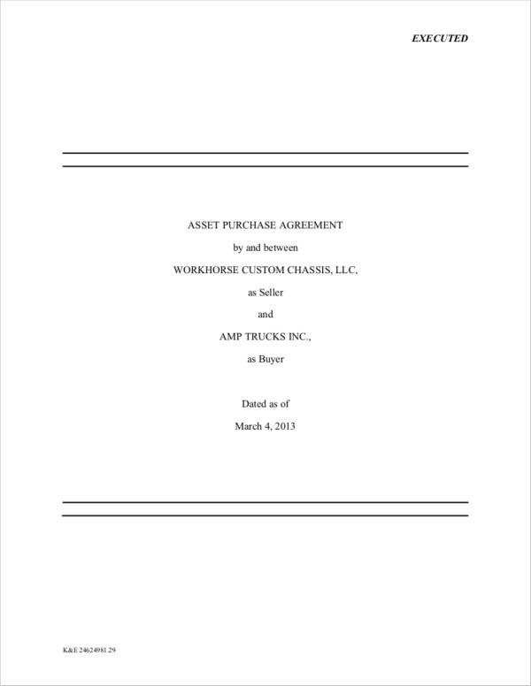 Asset Purchase Agreement Samples And Templates  Pdf Word