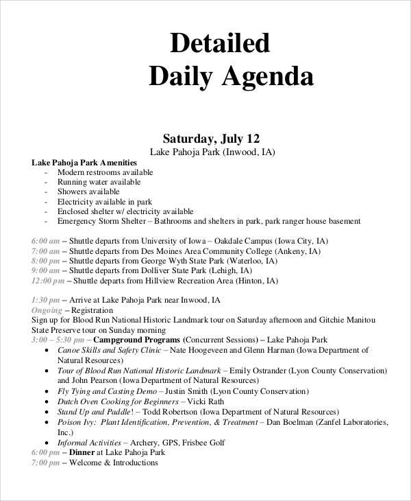 free sample detailed daily agenda