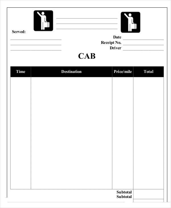 travel receipt template