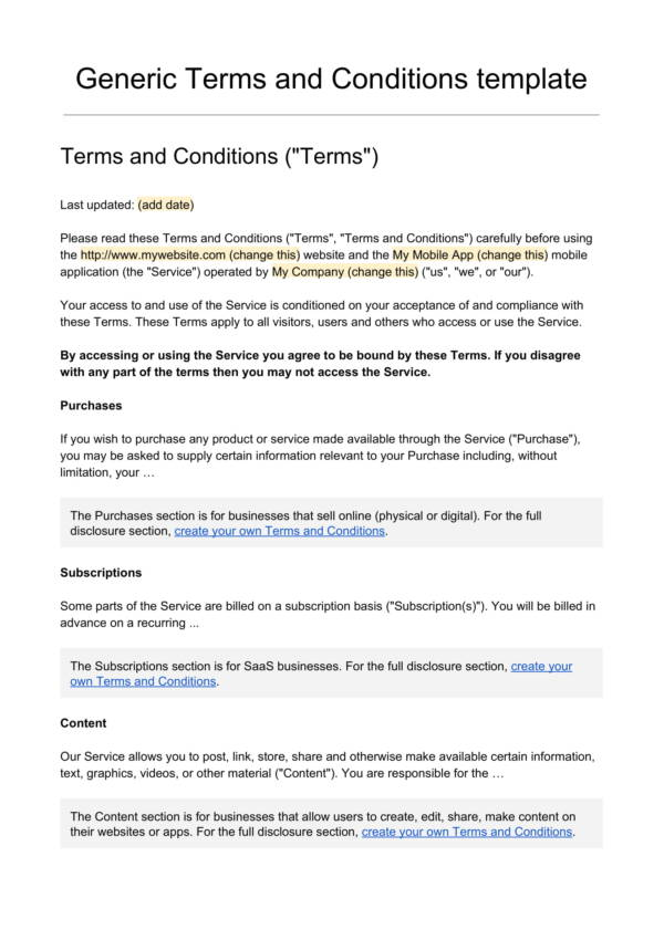 free terms and conditions template 1