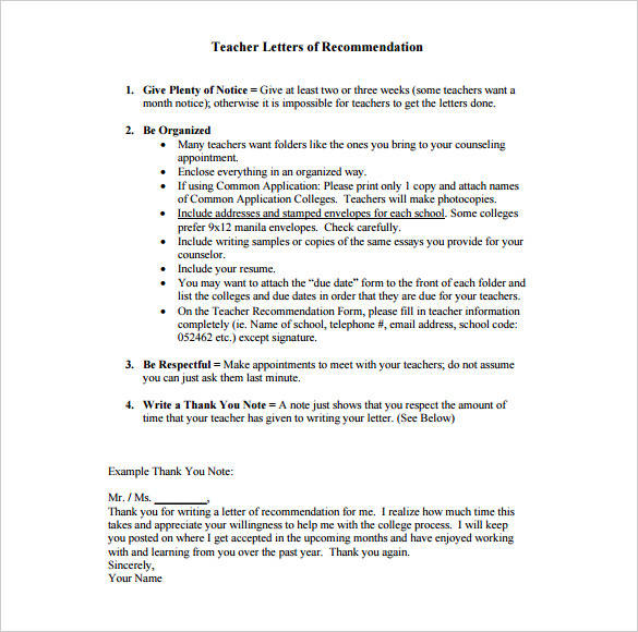 9 recommendation thank you letters pdf word sample templates free thank you letter sample for teacher recommendation expocarfo Images