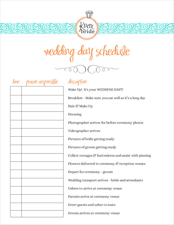 free wedding agenda example