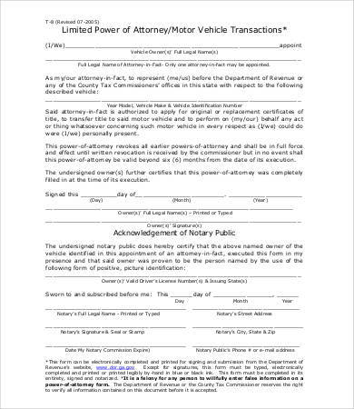 general power of attorney form for vehicle