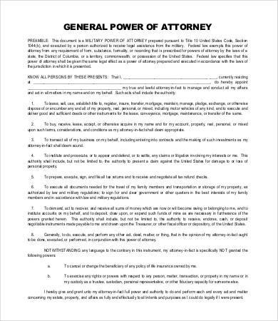 general power of attorney legal form