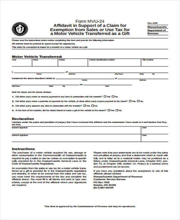 gift tax affidavit form