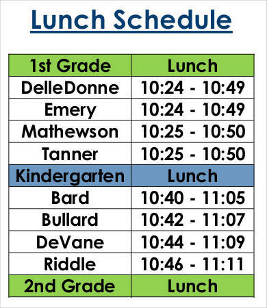 grade specific lunch schedule template